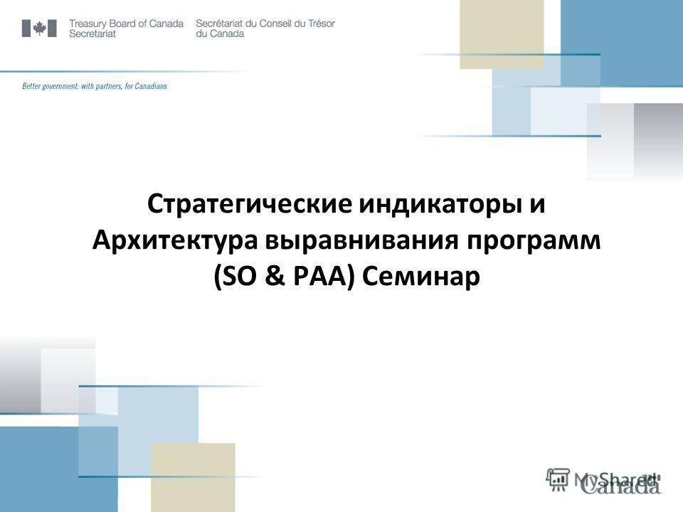 Стратегические индикаторы и Архитектура выравнивания программ (SO & PAA) Семинар