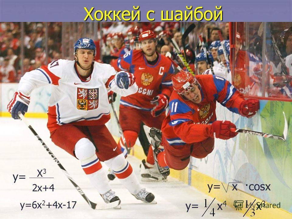 Хоккей с шайбой у= х 4 - х 3 у= х ·cosx у=6х 2 +4х-17 у= Х3Х3 2х+4