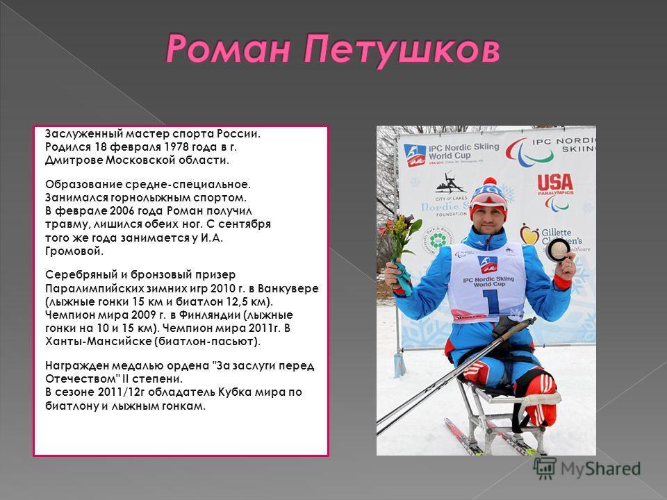 Заслуженный мастер спорта России. Родился 18 февраля 1978 года в г. Дмитрове Московской области. Образование средне-специальное. Занимался горнолыжным спортом. В феврале 2006 года Роман получил травму, лишился обеих ног. С сентября того же года заним