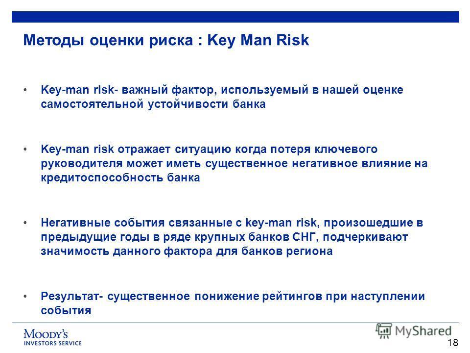 Методы оценки риска : Key Man Risk Key-man risk- важный фактор, используемый в нашей оценке самостоятельной устойчивости банка Key-man risk отражает ситуацию когда потеря ключевого руководителя может иметь существенное негативное влияние на кредитосп