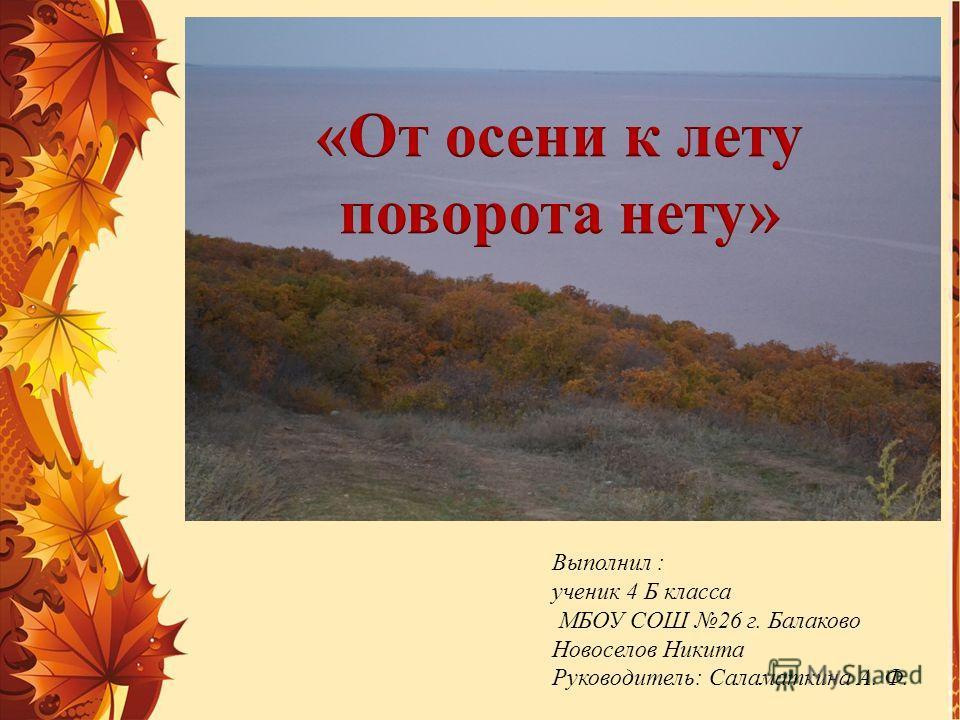 Выполнил : ученик 4 Б класса МБОУ СОШ 26 г. Балаково Новоселов Никита Руководитель: Саламаткина А. Ф.