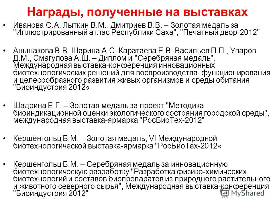 Награды, полученные на выставках Иванова С.А. Лыткин В.М., Дмитриев В.В. – Золотая медаль за