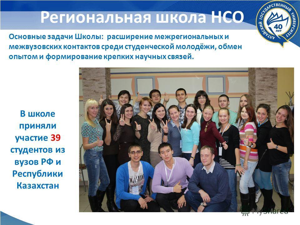 Региональная школа НСО Основные задачи Школы: расширение межрегиональных и межвузовских контактов среди студенческой молодёжи, обмен опытом и формирование крепких научных связей. В школе приняли участие 39 студентов из вузов РФ и Республики Казахстан
