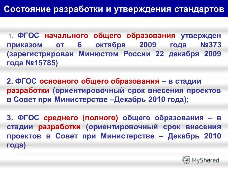 12 1. ФГОС начального общего образования утвержден приказом от 6 октября 2009 года 373 (зарегистрирован Минюстом России 22 декабря 2009 года 15785) 2. ФГОС основного общего образования – в стадии разработки (ориентировочный срок внесения проектов в С