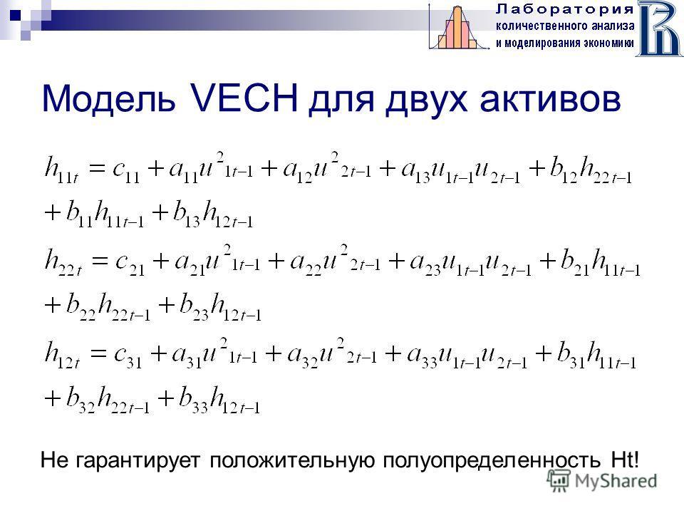 Модель VECH для двух активов Не гарантирует положительную полуопределенность Ht!