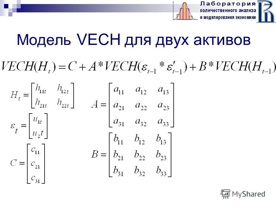 Модель VECH для двух активов