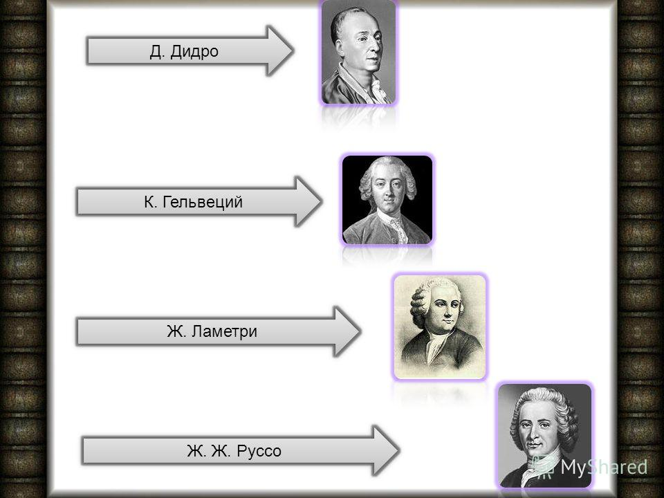Д. Дидро К. Гельвеций Ж. Ламетри Ж. Ж. Руссо