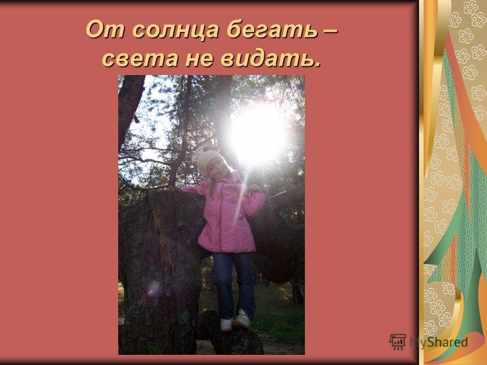 От солнца бегать – света не видать.
