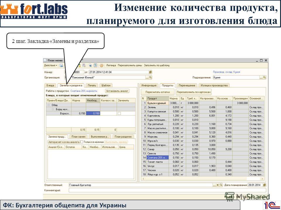 Изменение количества продукта, планируемого для изготовления блюда 2 шаг. Закладка «Замены и разделка» ФК: Бухгалтерия общепита для Украины