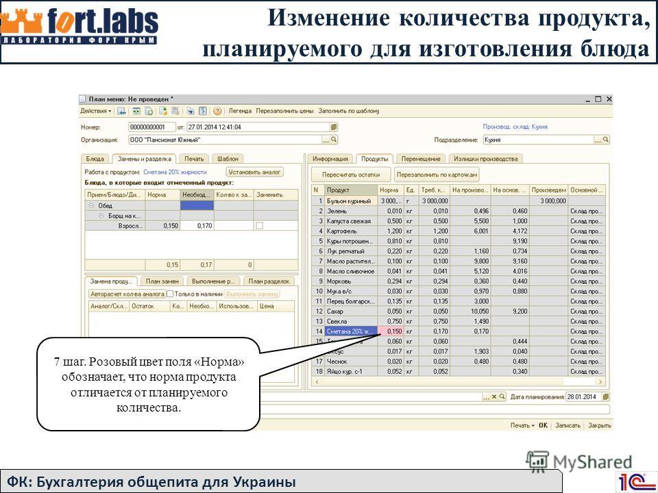 Изменение количества продукта, планируемого для изготовления блюда 7 шаг. Розовый цвет поля «Норма» обозначает, что норма продукта отличается от планируемого количества. ФК: Бухгалтерия общепита для Украины