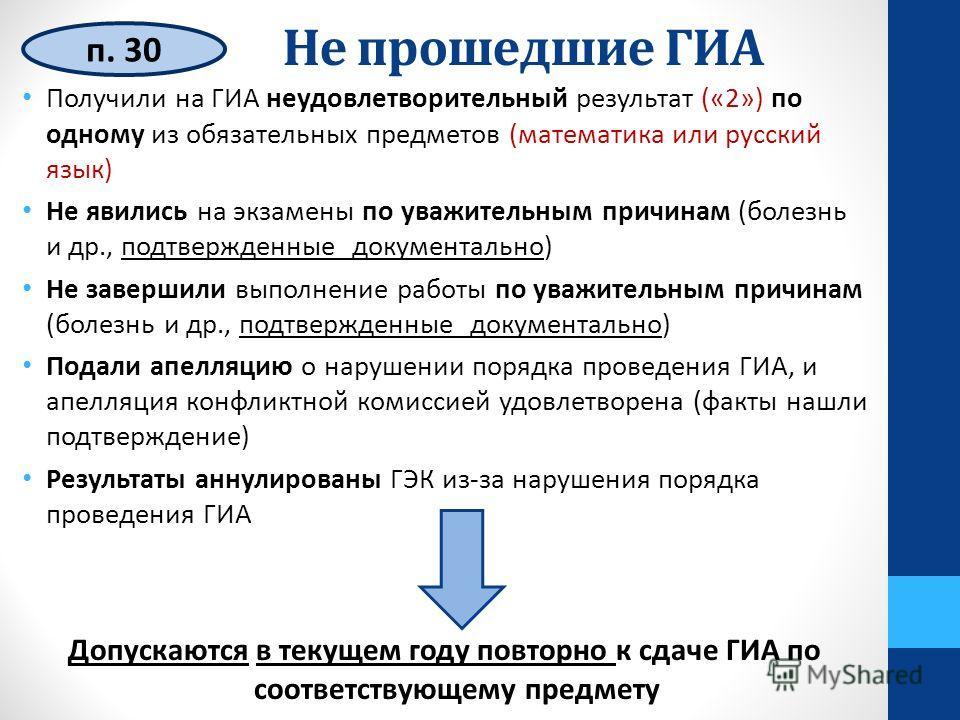 Не прошедшие ГИА п. 30 Получили на ГИА неудовлетворительный результат («2») по одному из обязательных предметов (математика или русский язык) Не явились на экзамены по уважительным причинам (болезнь и др., подтвержденные документально) Не завершили в