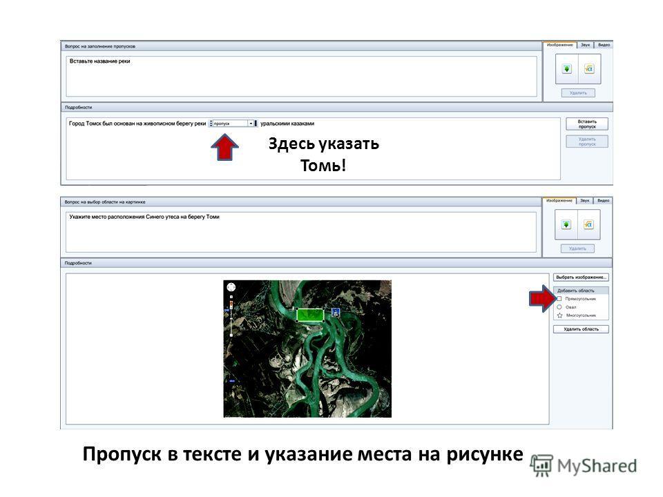 Пропуск в тексте и указание места на рисунке Здесь указать Томь!