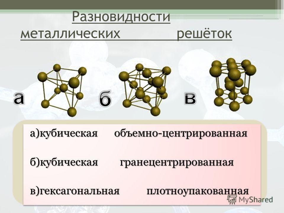 а)кубическая объемно-центрированная б)кубическая гранецентрированная в)гексагональная плотноупакованная а)кубическая объемно-центрированная б)кубическая гранецентрированная в)гексагональная плотноупакованная Разновидности металлических решёток