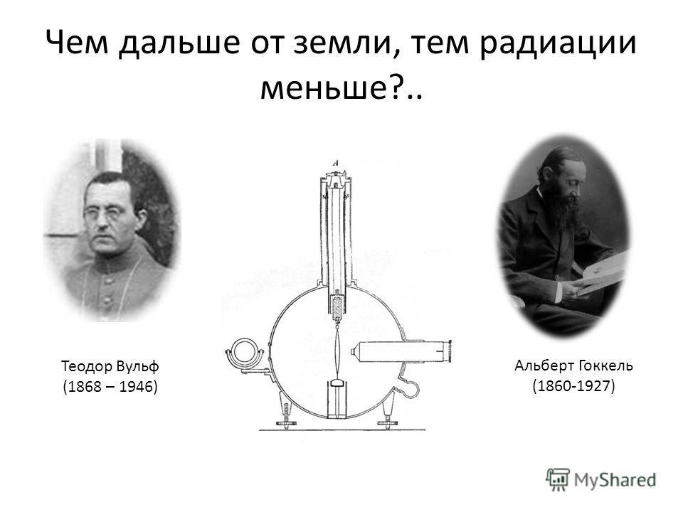Чем дальше от земли, тем радиации меньше?.. Теодор Вульф (1868 – 1946) Альберт Гоккель (1860-1927)