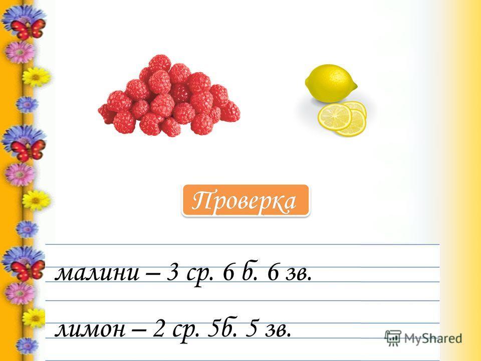 малини – 3 ср. 6 б. 6 зв. лимон – 2 ср. 5б. 5 зв.