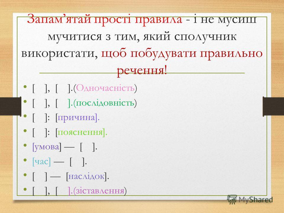 Запамятай прості правила - і не мусиш мучитися з тим, який сполучник використати, щоб побудувати правильно речення! [ ], [ ].(Одночасність) [ ], [ ].(послідовність) [ ]: [причина]. [ ]: [пояснення]. [умова] [ ]. [час] [ ]. [ ] [наслідок]. [ ], [ ].(з