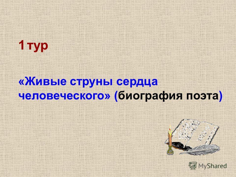 1тур «Живые струны сердца человеческого» (биография поэта)