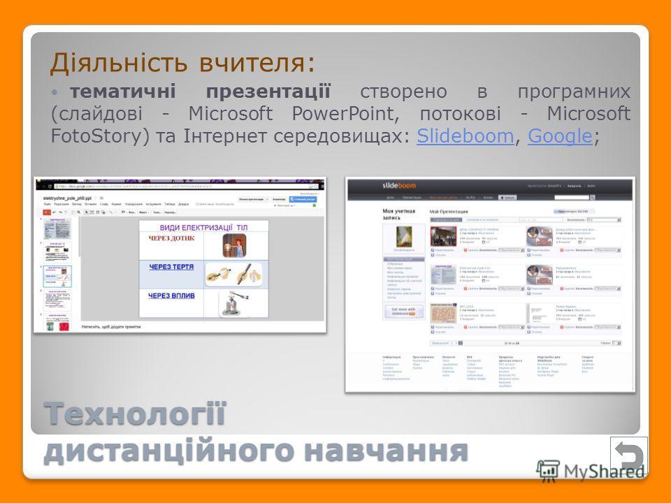 Діяльність вчителя: тематичні презентації створено в програмних (слайдові - Microsoft PowerPoint, потокові - Microsoft FotoStory) та Інтернет середовищах: Slideboom, Google;SlideboomGoogle