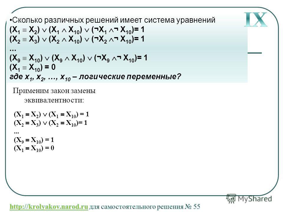 Сколько различных решений имеет система уравнений (X 1 X 2 ) (X 1 X 10 ) (¬X 1 ¬ X 10 )= 1 (X 2 X 3 ) (X 2 X 10 ) (¬X 2 ¬ X 10 )= 1... (X 9 X 10 ) (X 9 X 10 ) (¬X 9 ¬ X 10 )= 1 (X 1 X 10 ) = 0 где x 1, x 2, …, x 10 – логические переменные? Применим з