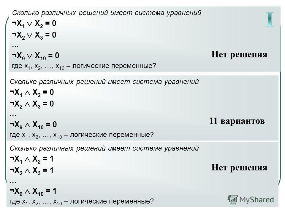 Сколько различных решений имеет система уравнений ¬X 1 X 2 = 0 ¬X 2 X 3 = 0... ¬X 9 X 10 = 0 где x 1, x 2, …, x 10 – логические переменные? Сколько различных решений имеет система уравнений ¬X 1 X 2 = 0 ¬X 2 X 3 = 0... ¬X 9 X 10 = 0 где x 1, x 2, …,