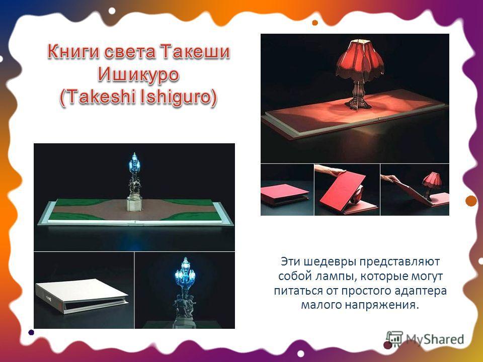 Эти шедевры представляют собой лампы, которые могут питаться от простого адаптера малого напряжения.