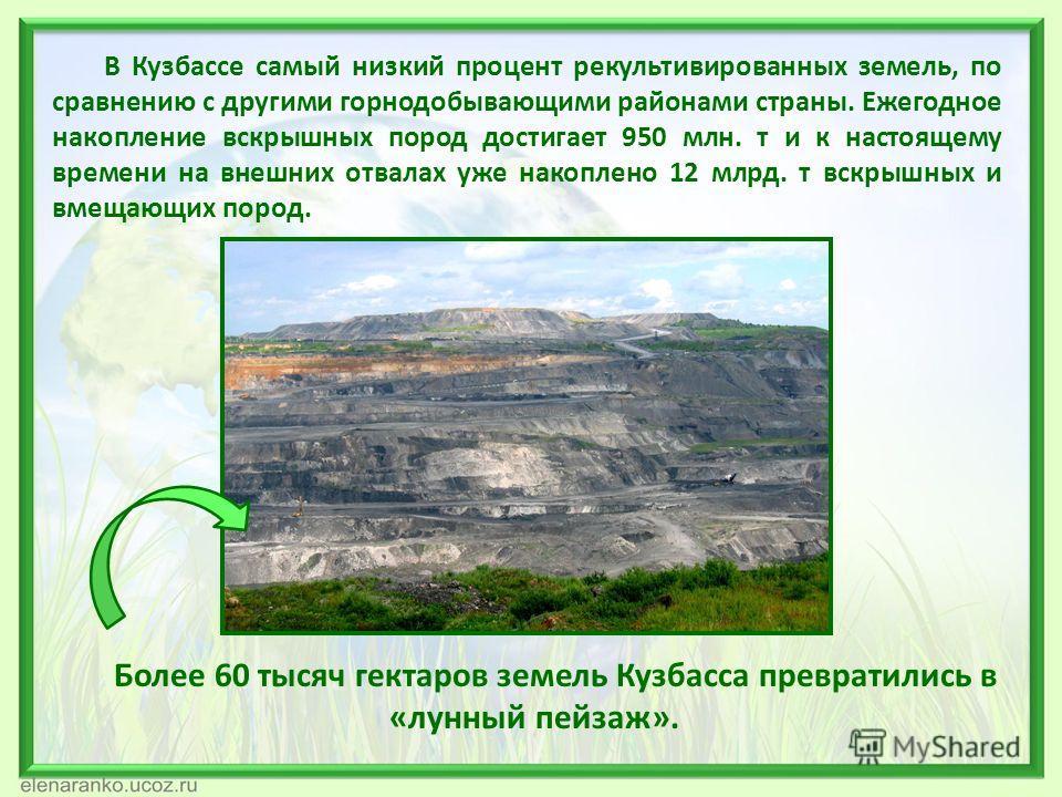 В Кузбассе самый низкий процент рекультивированных земель, по сравнению с другими горнодобывающими районами страны. Ежегодное накопление вскрышных пород достигает 950 млн. т и к настоящему времени на внешних отвалах уже накоплено 12 млрд. т вскрышных
