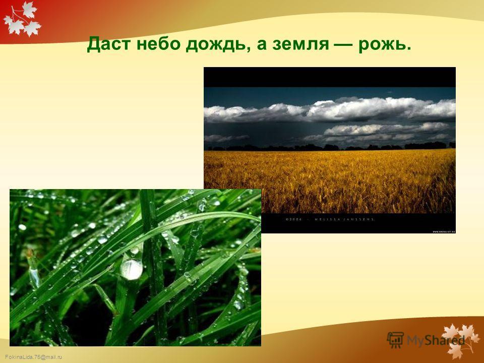 FokinaLida.75@mail.ru Даст небо дождь, а земля рожь.