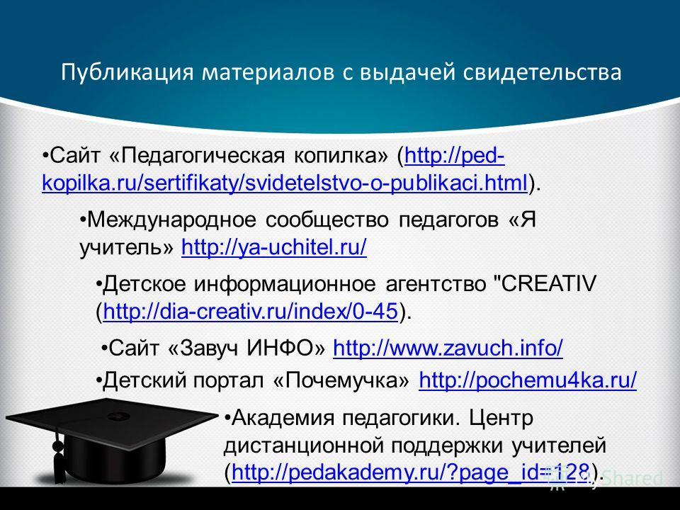 Сайт «Педагогическая копилка» (http://ped- kopilka.ru/sertifikaty/svidetelstvo-o-publikaci.html).http://ped- kopilka.ru/sertifikaty/svidetelstvo-o-publikaci.html Международное сообщество педагогов «Я учитель» http://ya-uchitel.ru/http://ya-uchitel.ru