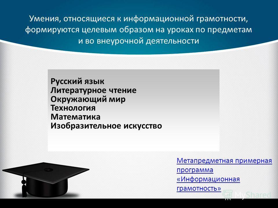 Умения, относящиеся к информационной грамотности, формируются целевым образом на уроках по предметам и во внеурочной деятельности Русский язык Литературное чтение Окружающий мир Технология Математика Изобразительное искусство Метапредметная примерная