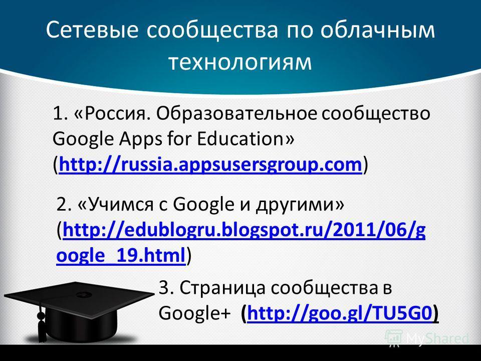 Сетевые сообщества по облачным технологиям 1. «Россия. Образовательное сообщество Google Apps for Education» (http://russia.appsusersgroup.com)http://russia.appsusersgroup.com 2. «Учимся с Google и другими» (http://edublogru.blogspot.ru/2011/06/g oog