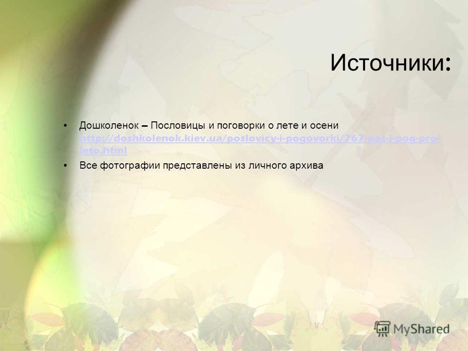 Источники : Дошколенок – Пословицы и поговорки о лете и осени http://doshkolenok.kiev.ua/poslovicy-i-pogovorki/767-pos-i-pog-pro- leto.html http://doshkolenok.kiev.ua/poslovicy-i-pogovorki/767-pos-i-pog-pro- leto.html Все фотографии представлены из л