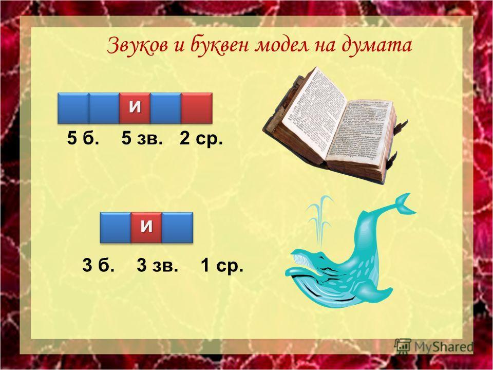 и 5 б. 5 зв. 2 ср. 3 б. 3 зв. 1 ср. З вуков и буквен модел на думата и