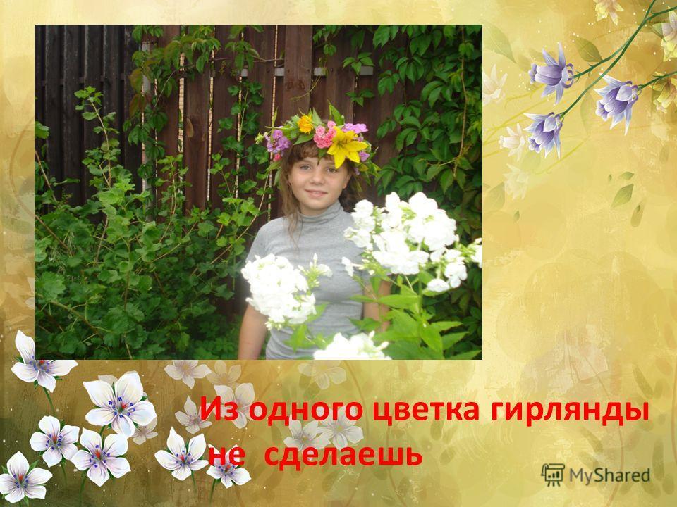 Из одного цветка гирлянды не сделаешь