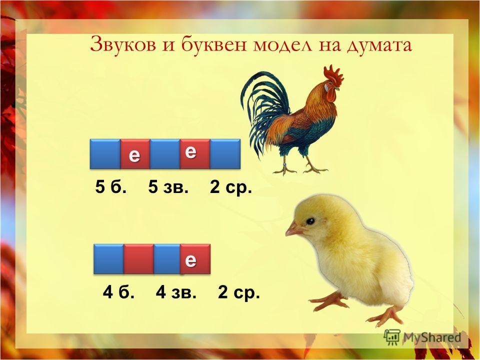 4 б. 4 зв. 2 ср. 4 б. 4 зв. 2 ср. Звуков и буквен модел на думата е ее
