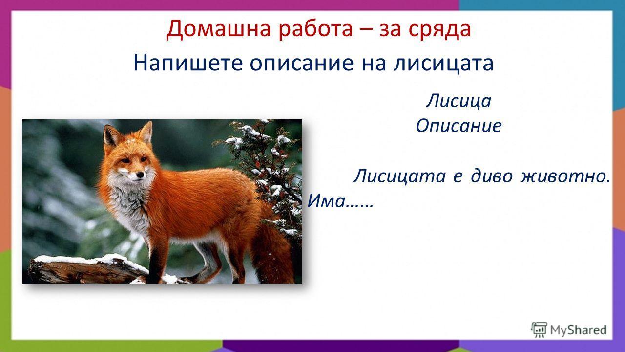 Домашна работа – за сряда Напишете описание на лисицата Лисица Описание Лисицата е диво животно. Има……