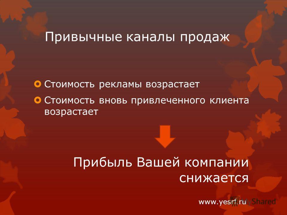 Привычные каналы продаж Стоимость рекламы возрастает Стоимость вновь привлеченного клиента возрастает Прибыль Вашей компании снижается www.yesrf.ru