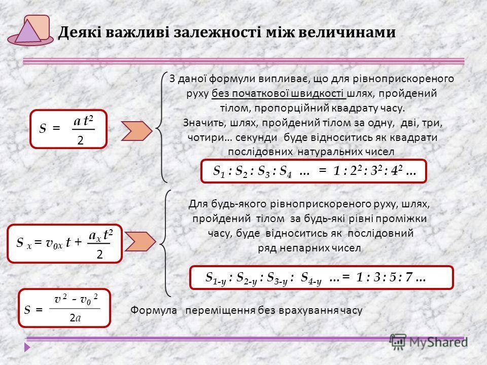 Деякі важливі залежності між величинами S = S = a t2a t2 2 З даної формули випливає, що для рівноприскореного руху без початкової швидкості шлях, пройдений тілом, пропорційний квадрату часу. Значить, шлях, пройдений тілом за одну, дві, три, чотири …