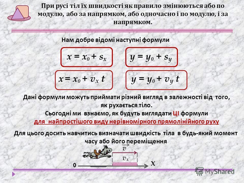 х = х 0 + s x y = y 0 + s y Дані формули можуть приймати різний вигляд в залежності від того, як рухається тіло. Сьогодні ми взнаємо, як будуть виглядати ЦІ формули для найпростішого виду нерівномірного прямолінійного руху При русі тіл їх швидкості я