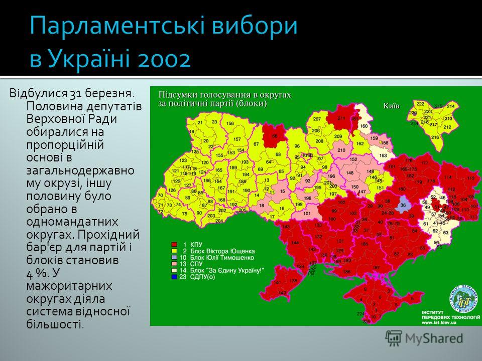 Відбулися 31 березня. Половина депутатів Верховної Ради обиралися на пропорційній основі в загальнодержавно му окрузі, іншу половину було обрано в одномандатних округах. Прохідний бар'єр для партій і блоків становив 4 %. У мажоритарних округах діяла