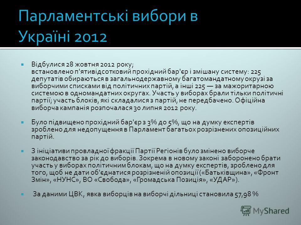 Відбулися 28 жовтня 2012 року; встановлено п'ятивідсотковий прохідний бар'єр і змішану систему: 225 депутатів обираються в загальнодержавному багатомандатному окрузі за виборчими списками від політичних партій, а інші 225 за мажоритарною системою в о