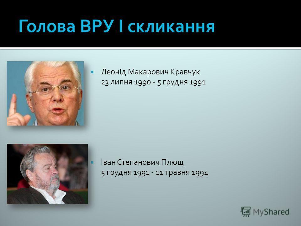 Леонід Макарович Кравчук 23 липня 1990 - 5 грудня 1991 Іван Степанович Плющ 5 грудня 1991 - 11 травня 1994