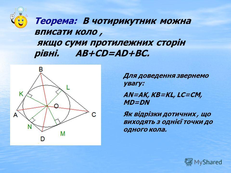 Теорема: В чотирикутник можна вписати коло, якщо суми протилежних сторін рівні. АВ+СD=AD+ВС. Для доведення звернемо увагу: AN=AK, KB=KL, LC=CM, MD=DN Як відрізки дотичних, що виходять з однієї точки до одного кола.