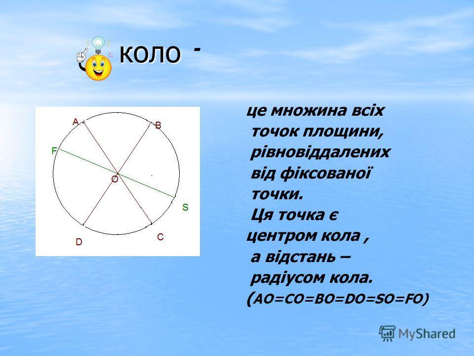 - коло коло це множина всіх точок площини, рівновіддалених від фіксованої точки. Ця точка є центром кола, а відстань – радіусом кола. ( АО=СО=ВО=DO=SO=FO)