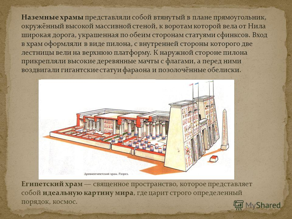 Египетский храм священное пространство, которое представляет собой идеальную картину мира, где царит строго определенный порядок, космос. Наземные храмы представляли собой втянутый в плане прямоугольник, окружённый высокой массивной стеной, к воротам