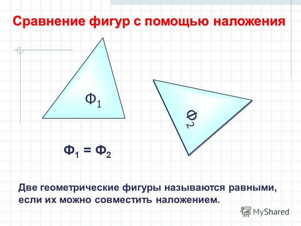 Ф1Ф1 Сравнение фигур с помощью наложения Ф2Ф2 Ф2Ф2 Ф 1 = Ф 2 Две геометрические фигуры называются равными, если их можно совместить наложением.