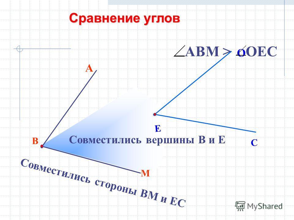 В М А Е С О Совместились вершины В и Е Совместились стороны ВМ и ЕС АВМ > ОЕС Сравнение углов