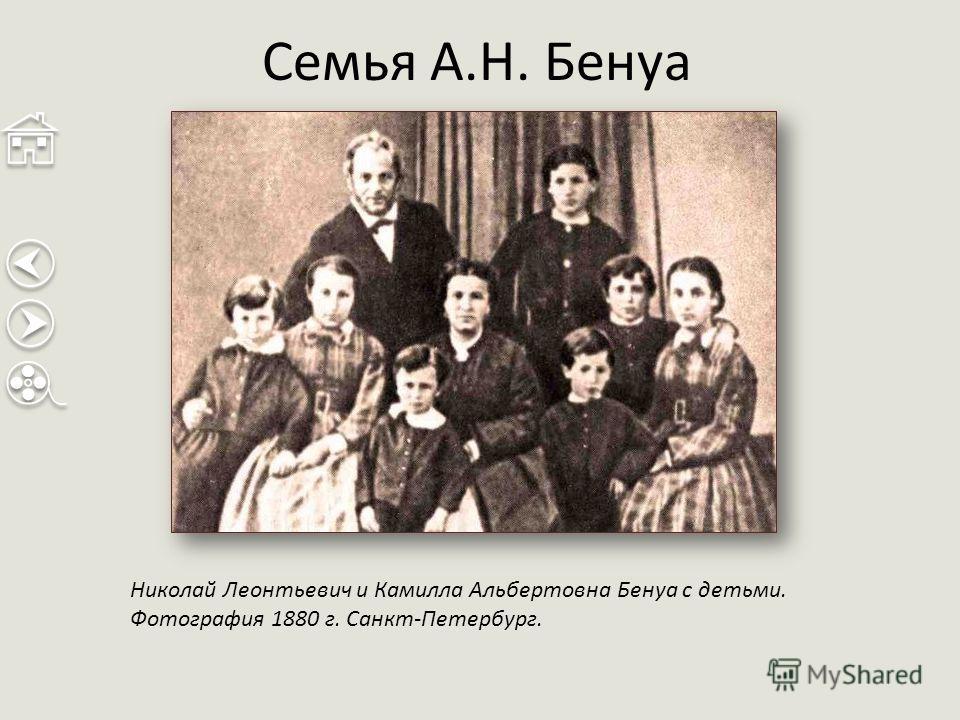 Семья А.Н. Бенуа Николай Леонтьевич и Камилла Альбертовна Бенуа с детьми. Фотография 1880 г. Санкт-Петербург.