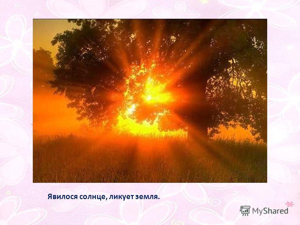 Явилося солнце, ликует земля.