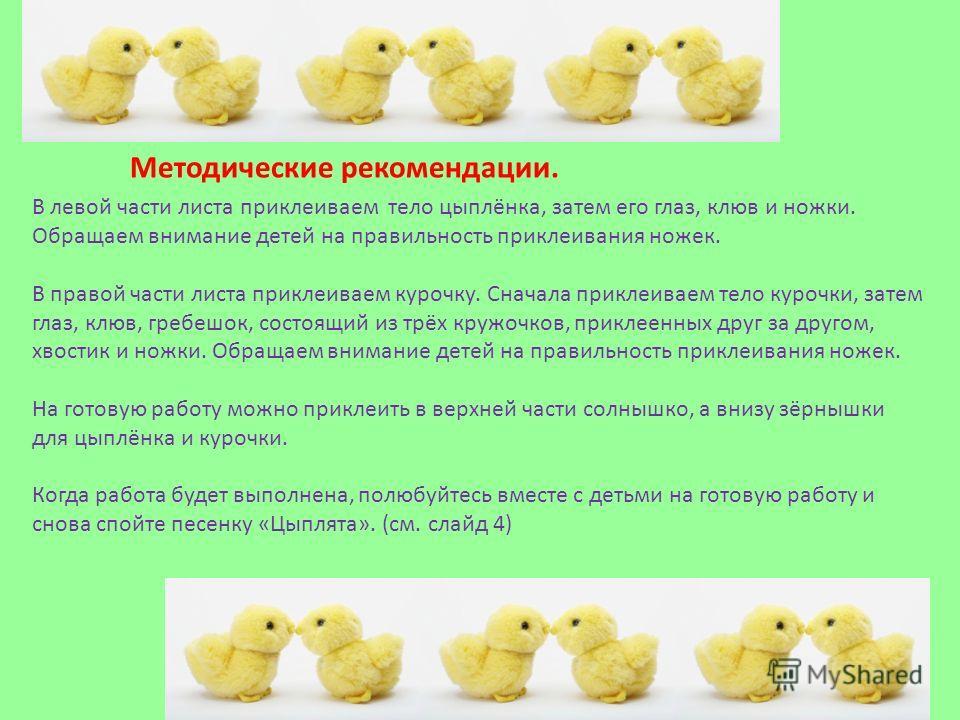 Методические рекомендации. В левой части листа приклеиваем тело цыплёнка, затем его глаз, клюв и ножки. Обращаем внимание детей на правильность приклеивания ножек. В правой части листа приклеиваем курочку. Сначала приклеиваем тело курочки, затем глаз