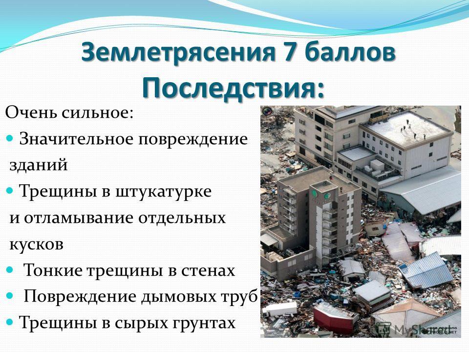 Очень сильное: Значительное повреждение зданий Трещины в штукатурке и отламывание отдельных кусков Тонкие трещины в стенах Повреждение дымовых труб Трещины в сырых грунтах Землетрясения 7 баллов Последствия: